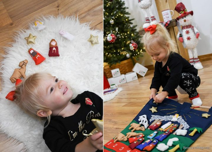 Cloth Nativity Advent Calendar features velcro, add-on pieces to tell the story in a countdown to Christmas.