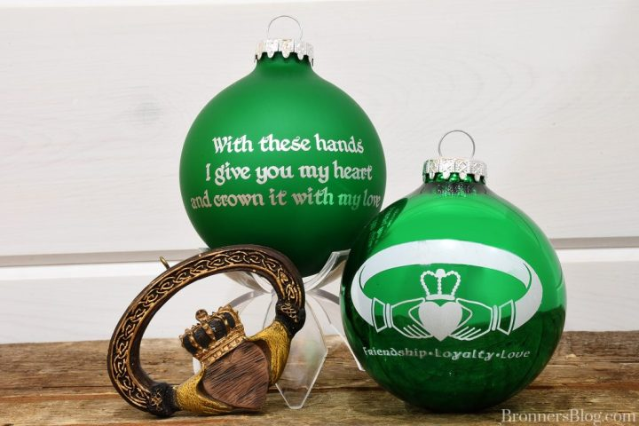 With these hands I give you my heart and crown it with my love Claddagh ring ornaments from Bronner's Christmas Wonderland