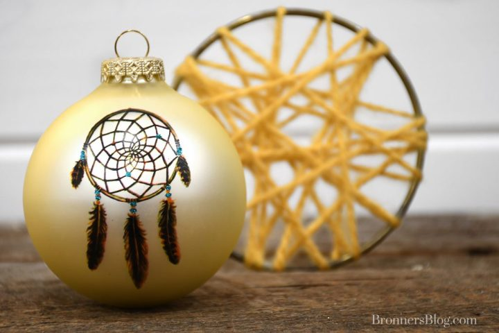 Dream Catcher glass ornament designed exclusively for Bronner's Christmas Wonderland from custom art