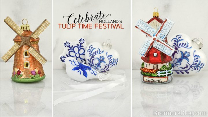 Windmill and delft style glass Christmas ornaments to celebrate Holland, Michigan's Tulip Time festival.