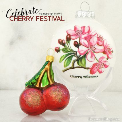 Symbol of the Cherry Blossom ornament and a sweet red cherries ornament are perfect for celebrating Traverse City's National Cherry Festival.