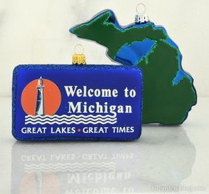 Welcom to Michigan, Great Lakes, great times Michigan themed glass Christmas Ornaments.