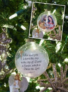 Bronner's exclusive nativity ornament filled with angel hair tinsel