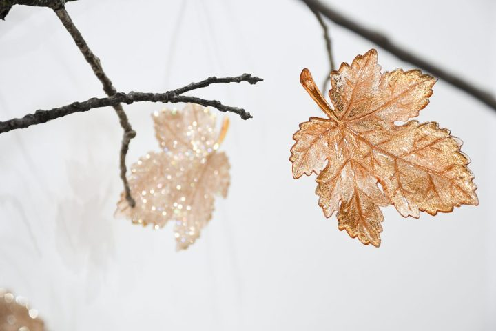 Rose Gold Glitter Leaf Shatterproof Ornament
