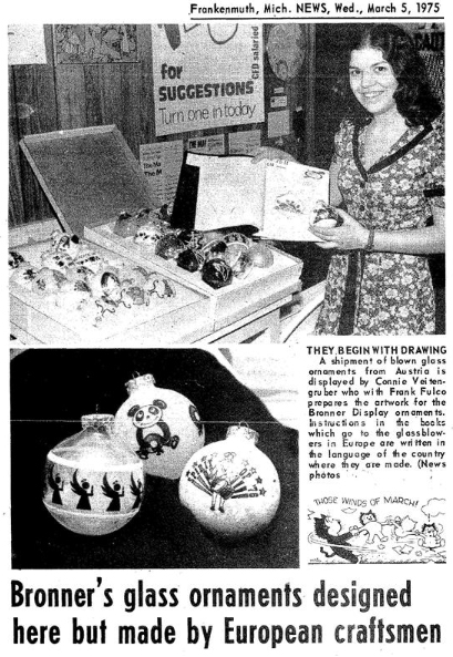 Frankenmuth News article from March 5, 1975 on Bronner's Exclusive Ornament Designs.