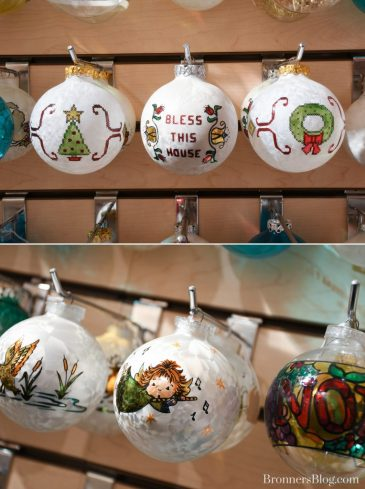 Bronner's exclusive cross-stitched ornaments from the 70s and other designs.