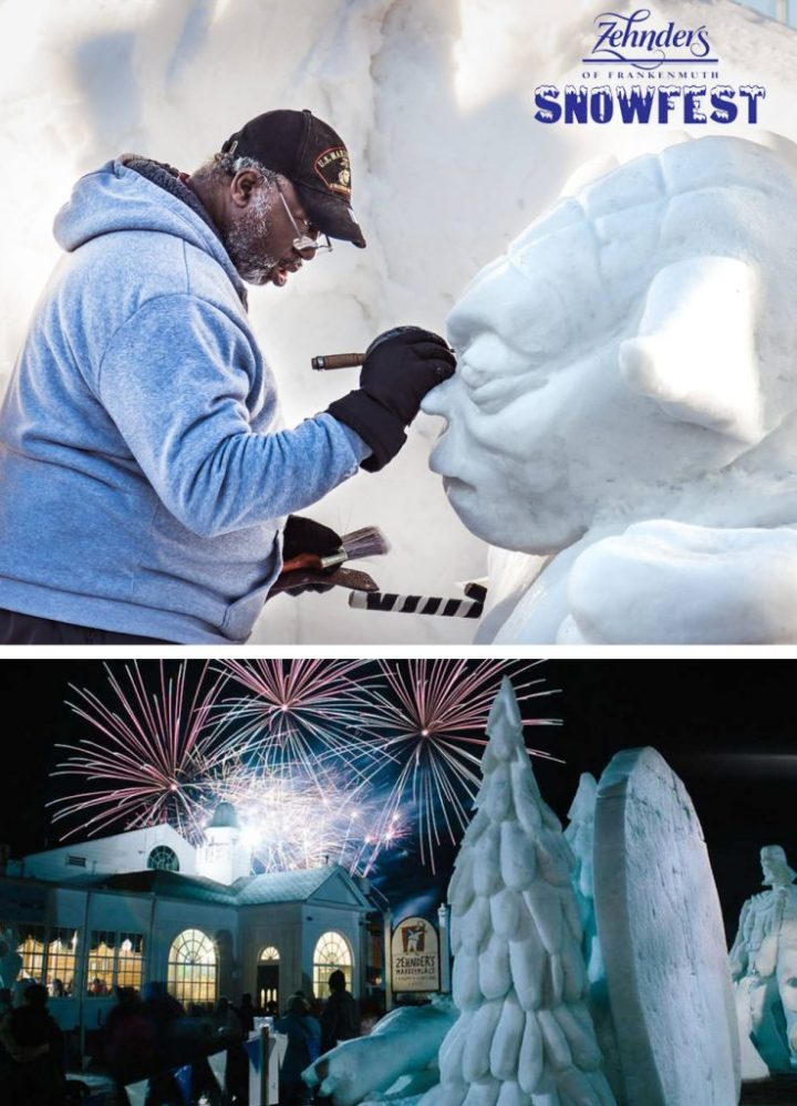 Zehnder's Snowfest in Fraknnemuth, MI features World Class snow and Ice sculptures.