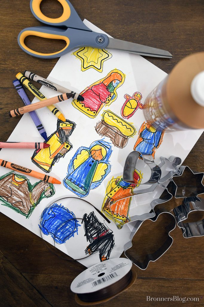 Materials for kids craft Nativity Cookie Cutter ornaments