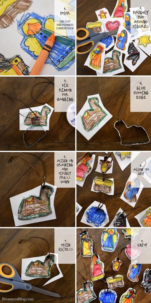 DIY Nativity Cookie Cutter Ornaments Kids Craft