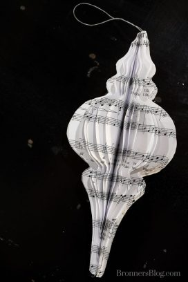 DIY 3-D Paper Ornament from music sheets