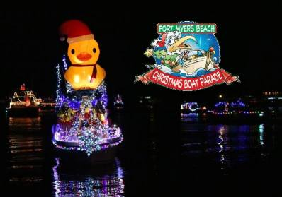 inflatable rubber duck tops lighted boat  for Christmas boat parades in Florida