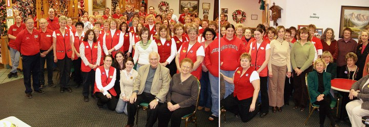 Wally and Irene Bronner celebrate their 80th Birthdays with staff of Bronner's CHRISTmas Wonderland in Frankenmuth, MI.