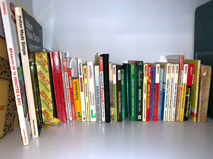 Wally Bronner's library of books to learn different languages.