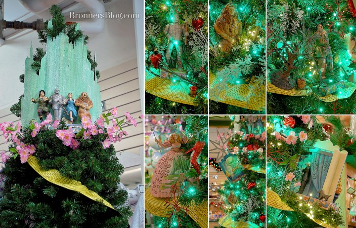 Wizard Of Oz Jim Shore pieces on display in a Christmas Tree.