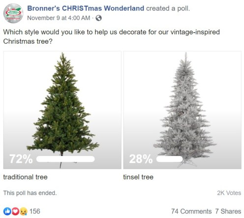 Facebook poll results favor a traditional green Christmas tree over a silver tinsel Christmas tree.