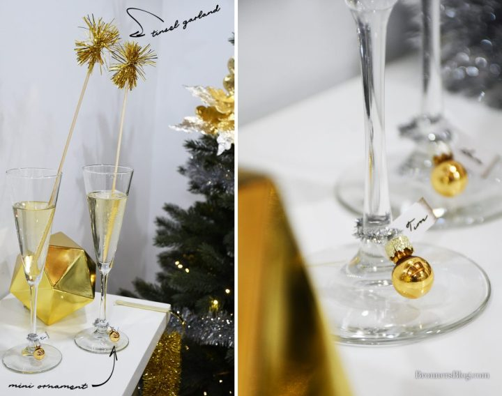 Champagne flute with DIY glass markers and tinsel swizzles