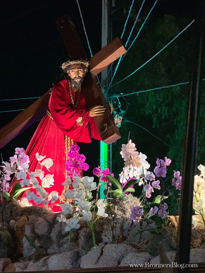 Jesus carrying the cross during a Holy Week processional celebration in Guatemala.