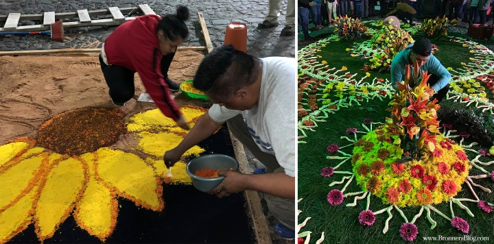 Left: A sunflower carpet being created on the streets of Antigua for the Holy Week celebration, Santa Semana. Right: Putting the finishing touches on an alfombras made from flowers and dyed grasses.