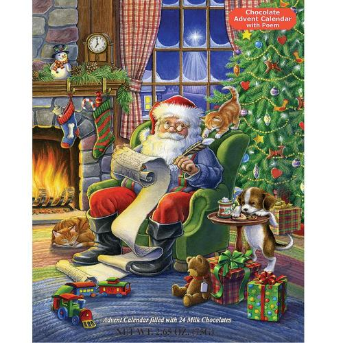 Advent calendar with chocolates pictures Santa in a chair beside the fireplace and next to a Christmas tree going over his naughty and nice list