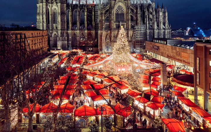 Köln (Cologne) Germany Christmas Market at night.