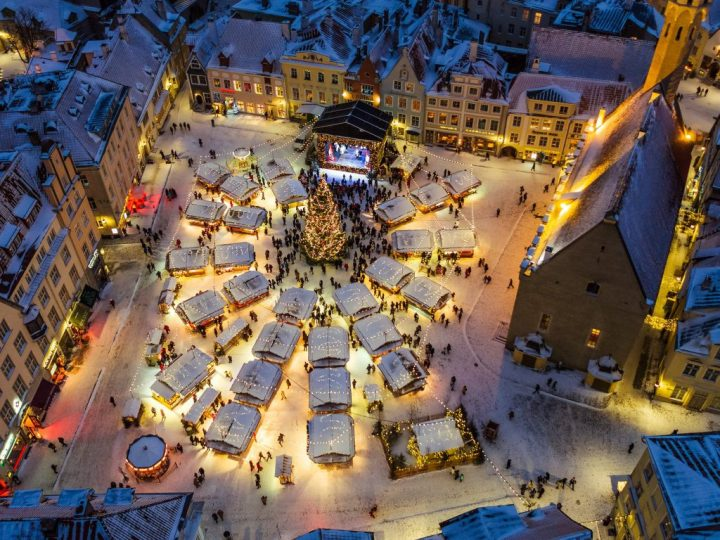 Arial view of Tallinn, Estonia, the 2019 Best Christmas Market winner of Europe.
