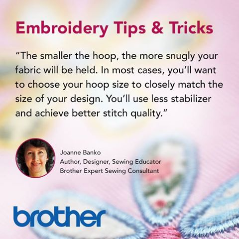 The smaller the hoop, the more snuggle the fabric will be held. In most cases, you'll want to choose your hoop size to closely match the size of your design. Youll use less stabilizer and achieve better stitch quality.