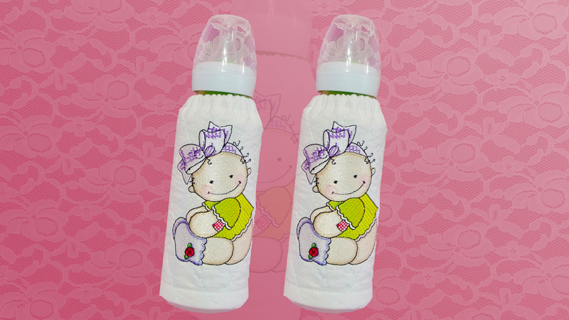 Embroidered Baby Bottle Cover