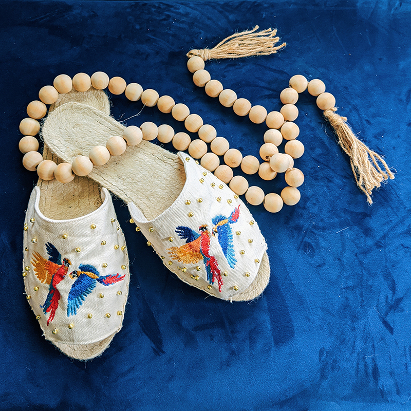 Shoes with beads