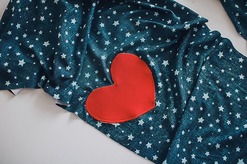 heart patch on fabric