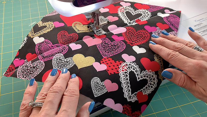 Sew across with batting and second fabric