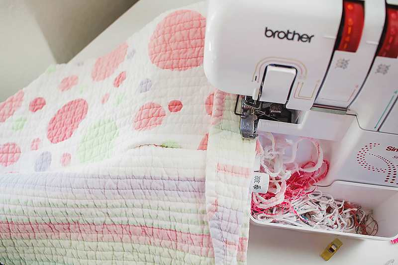 sew layers of quilt together