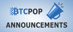 Btcpop logo, Announcements text, trumpet icon for btcpop announcements logo