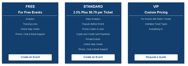 Pricing tables for EventChain snippet for btcpop article