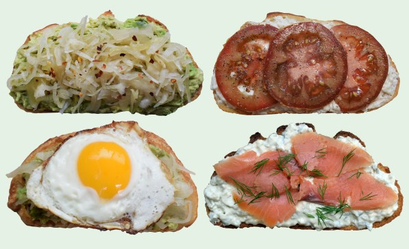 Four examples of ways to top toast: Sauerkraut, Tomatoes, salmon lox, and a sunny side up egg.