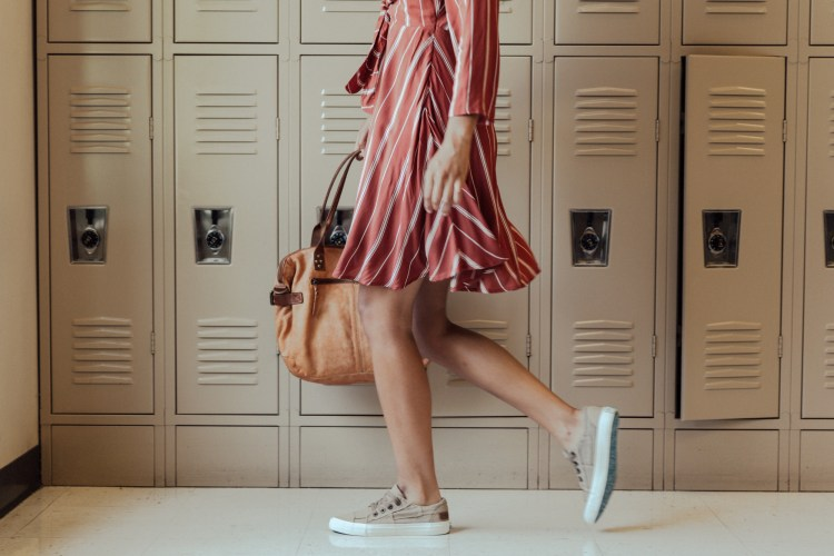 70s Styles | Amuse Dress in Auburn Stripes