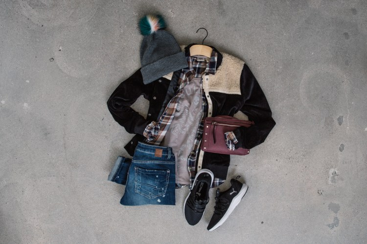 Gimmicks Sherpa Bomber with Sullen Tee and Puma Shoes