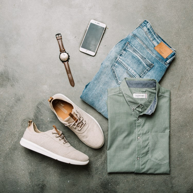 Men's Green Shirt, Sneakers, Stretch Jeans, St. Patrick's Day Outfit, Green Outfit