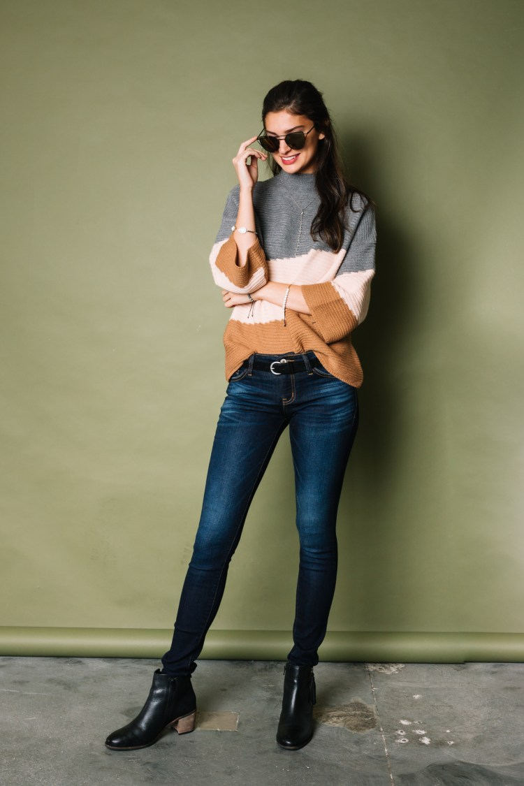 Women's Office Casual Outfit - Sweater, Clean Denim, Black Booties from Buckle