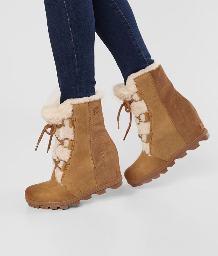 Women's Sorel Joan of Arctic Leather Fur Wedge Boot