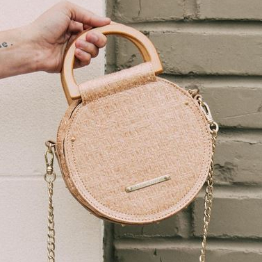 Women's Abbie and Emmie Straw Canteen Purse with chain strap