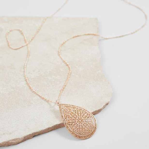 Women's BKE Gold Filigree Pendant Necklace