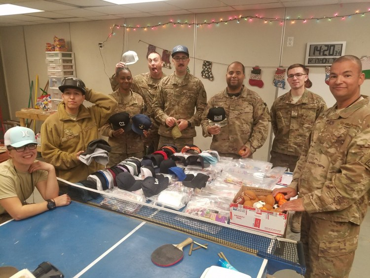 United States Air Force troop receives care packages from Buckle
