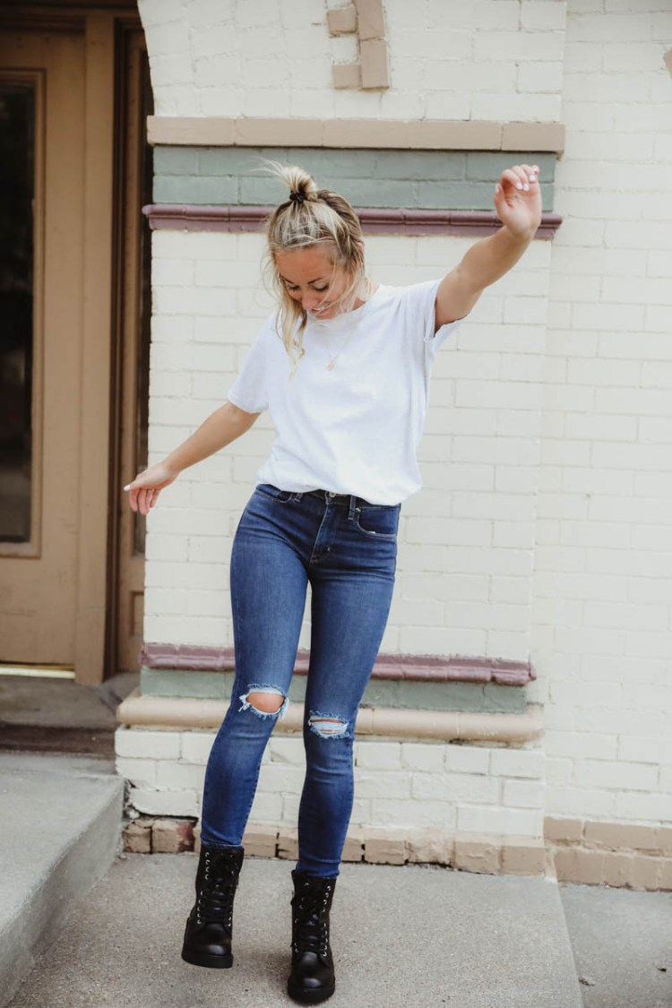 Women's Outfit For Fall - Gilded Intent White Tee, Levi's 311 Shaping Skinny Jeans, Steve Madden Black Combat Boots