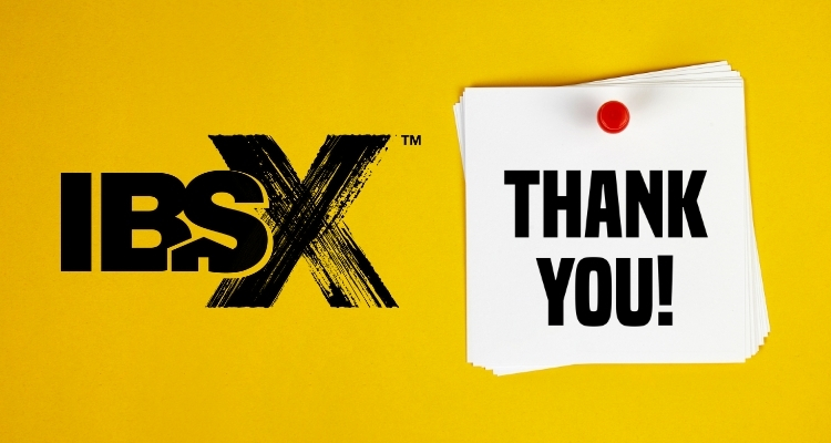 IBSx Logo and a white sticky note that says thank you.