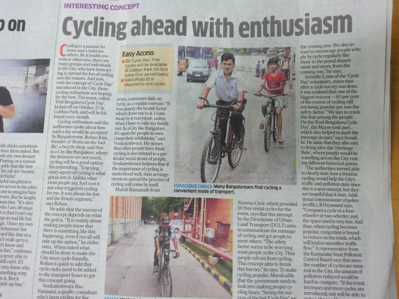 BumsOnTheSaddle on deccan herald - cycling ahead with enthusiasm (paper scan)