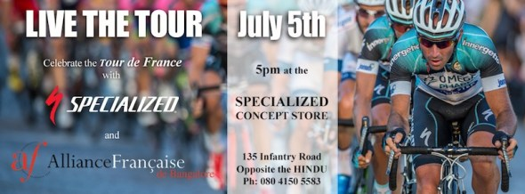 view the Tour de France in India at BumsOnTheSaddle, Specialized Concept Store
