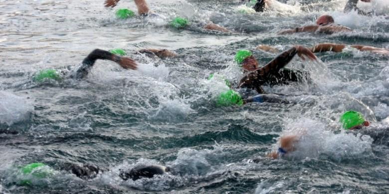 Swimming leg in a triathlon