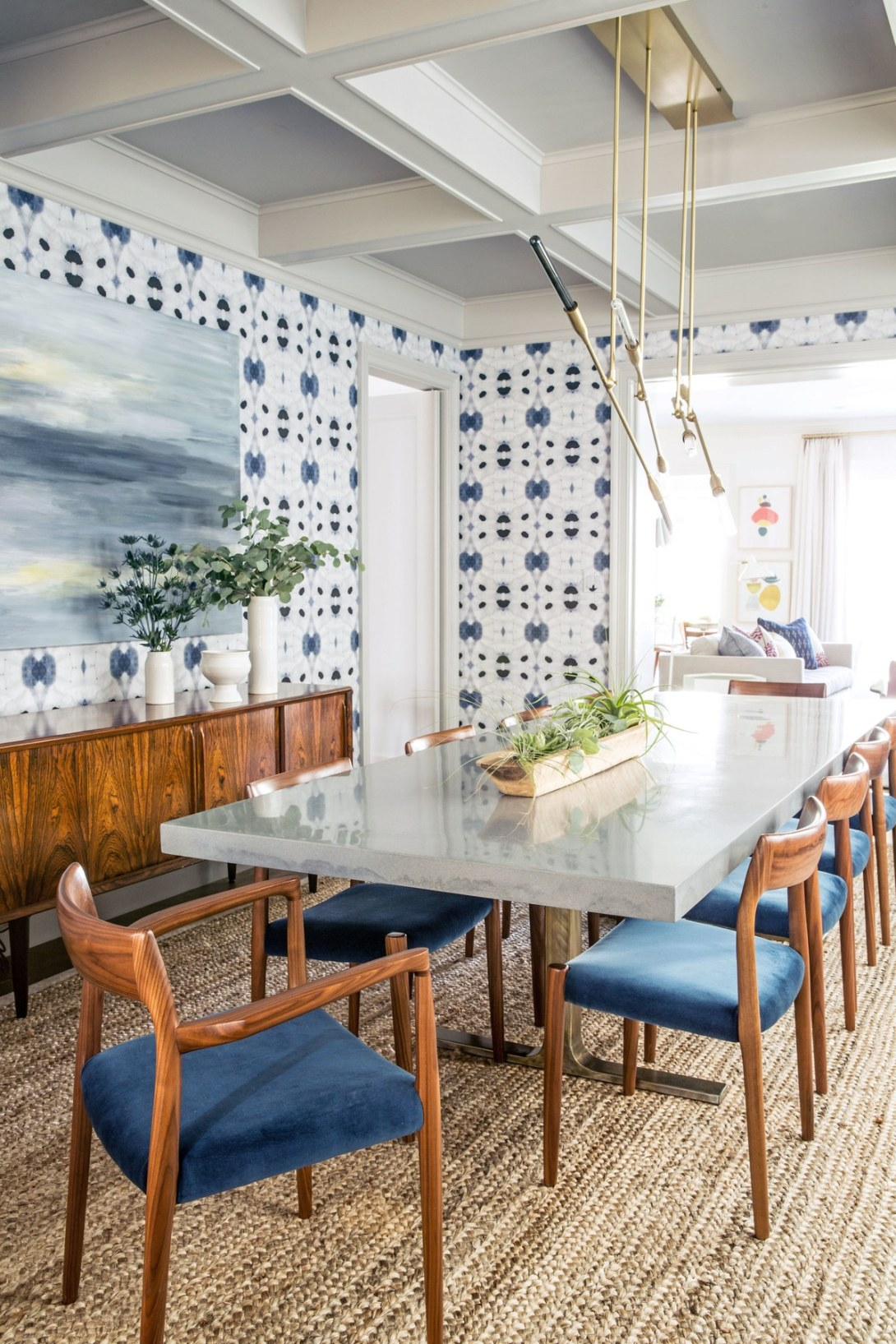 Mid Century Modern Brass Accented Dining Room
