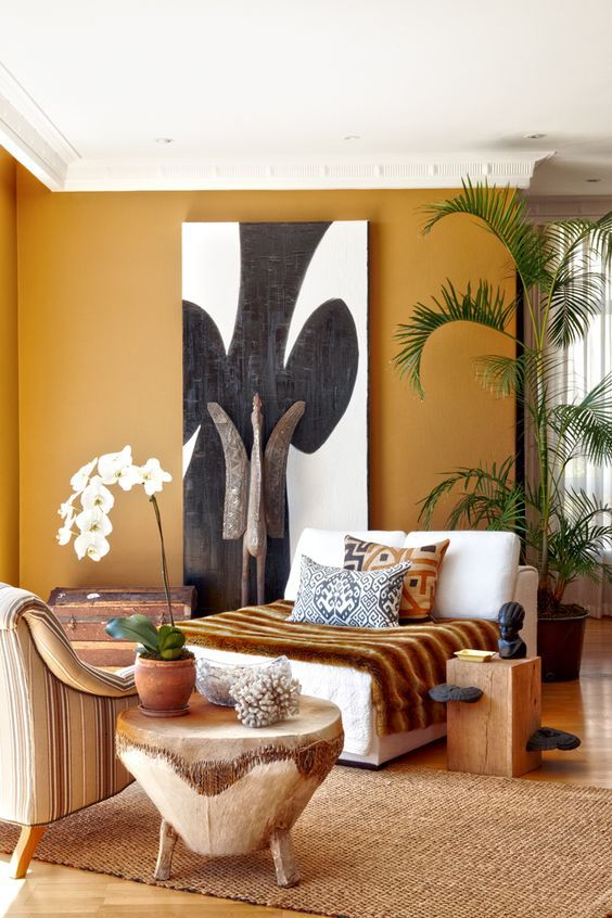 Drum Side Table + Jungle Plants + Pattern and Textures