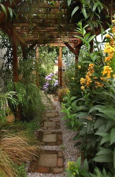 Pergola-covered Pathway